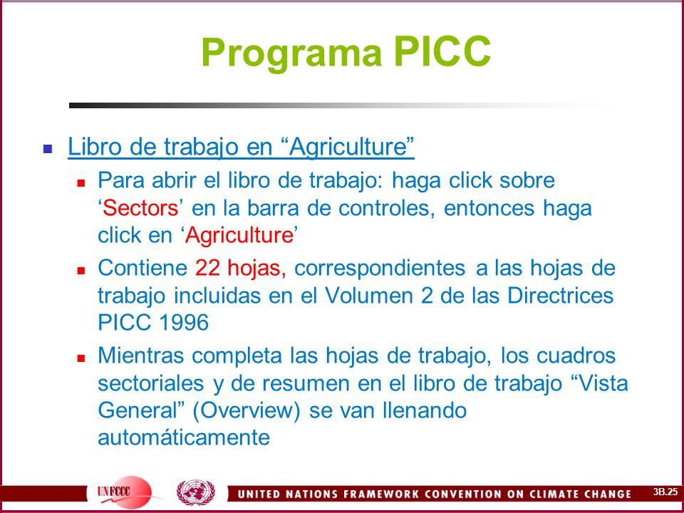 3B.25 Programa PICC Libro de trabajo en Agriculture Para abrir el libro de trabajo: haga click sobreSectors en la barra de controles, entonces haga cl
