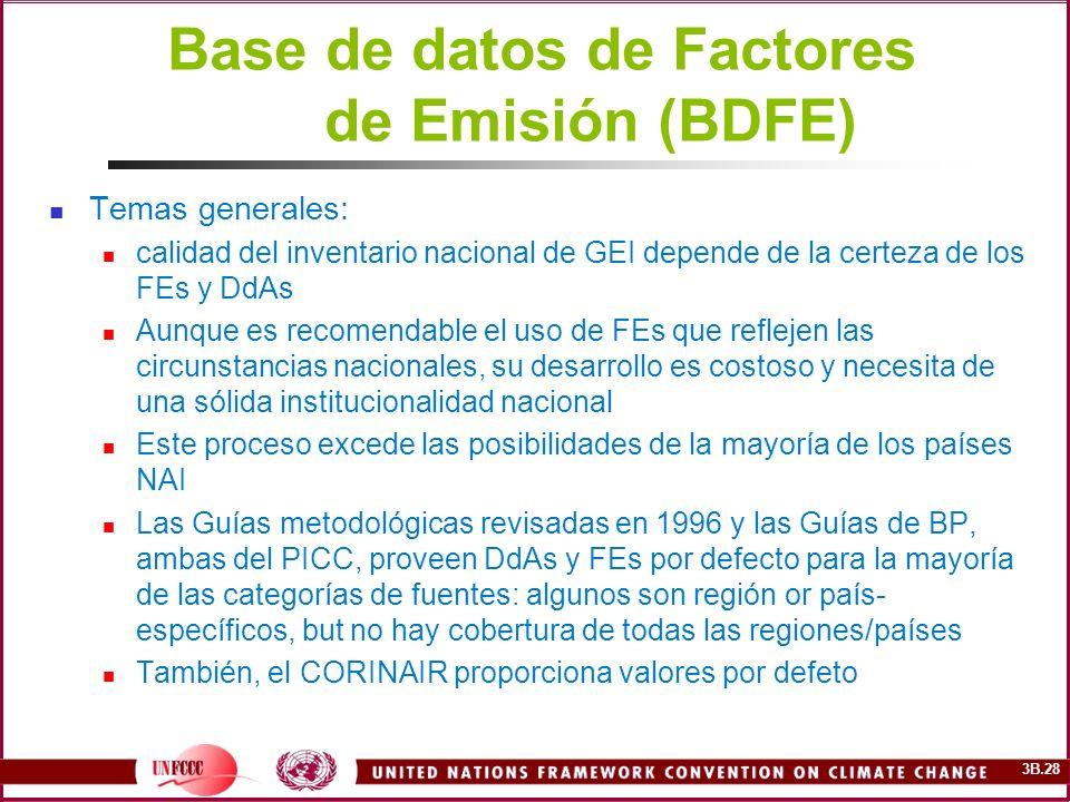 3B.28 Base de datos de Factores de Emisión (BDFE) Temas generales: calidad del inventario nacional de GEI depende de la certeza de los FEs y DdAs Aunq