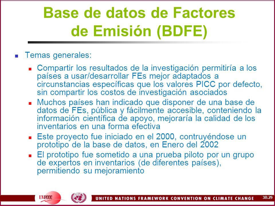 3B.29 Base de datos de Factores de Emisión (BDFE) Temas generales: Compartir los resultados de la investigación permitiría a los países a usar/desarro