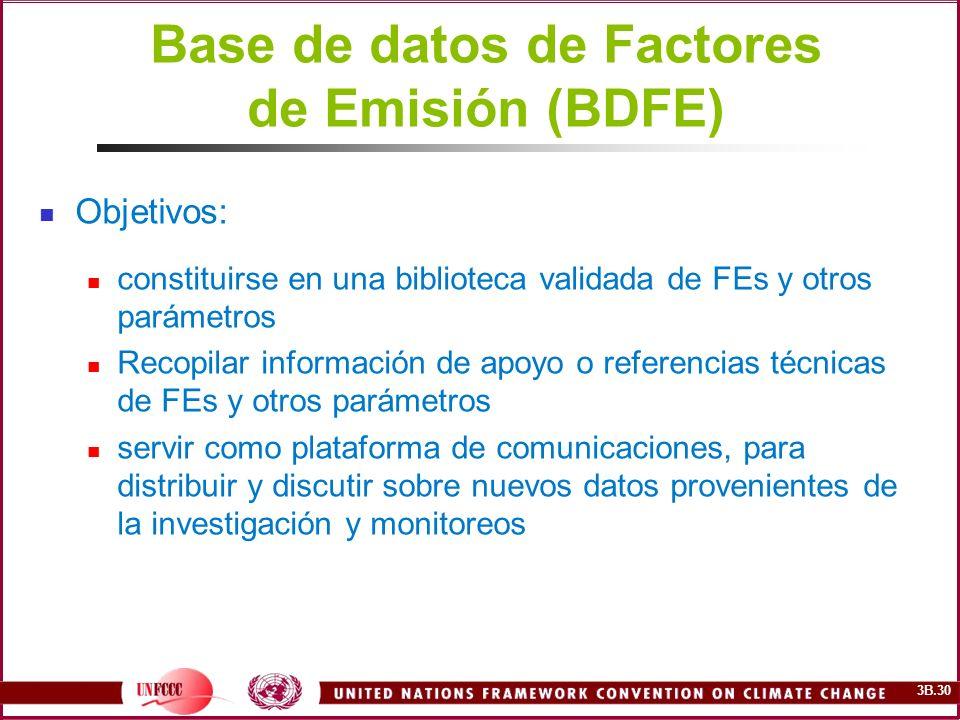 3B.30 Base de datos de Factores de Emisión (BDFE) Objetivos: constituirse en una biblioteca validada de FEs y otros parámetros Recopilar información d
