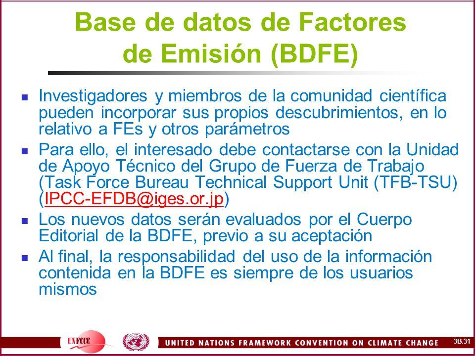 3B.31 Base de datos de Factores de Emisión (BDFE) Investigadores y miembros de la comunidad científica pueden incorporar sus propios descubrimientos,