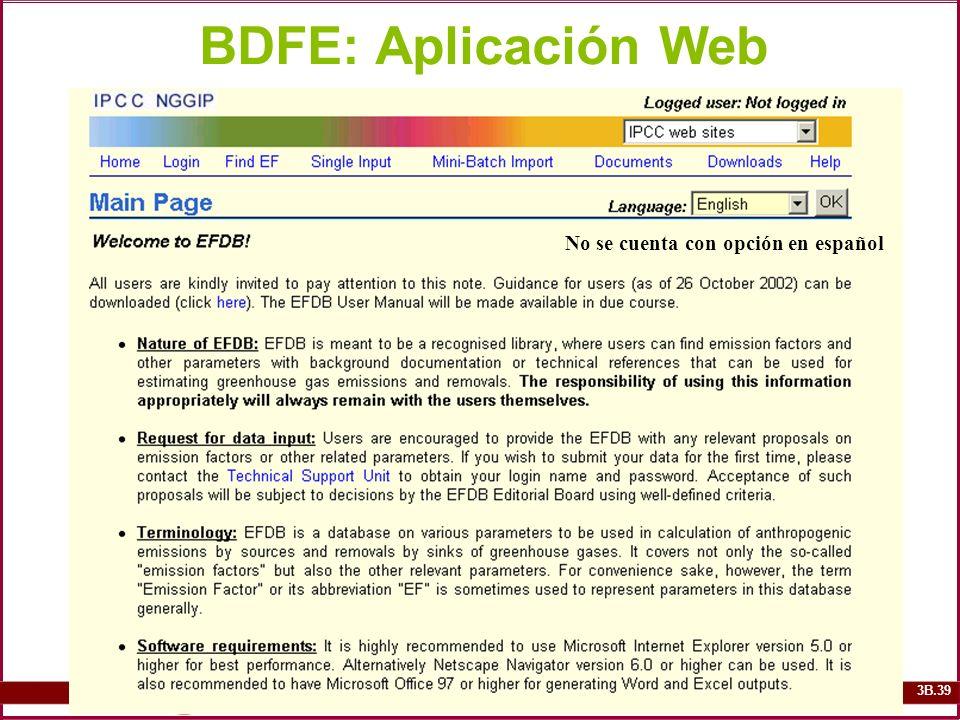 3B.39 BDFE: Aplicación Web No se cuenta con opción en español