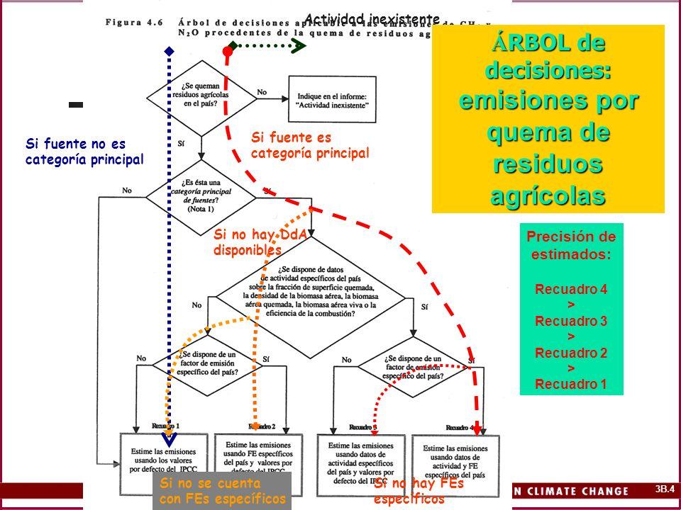 3B.4 Á RBOL de decisiones: emisiones por quema de residuos agrícolas Precisión de estimados: Recuadro 4 > Recuadro 3 > Recuadro 2 > Recuadro 1 Activid