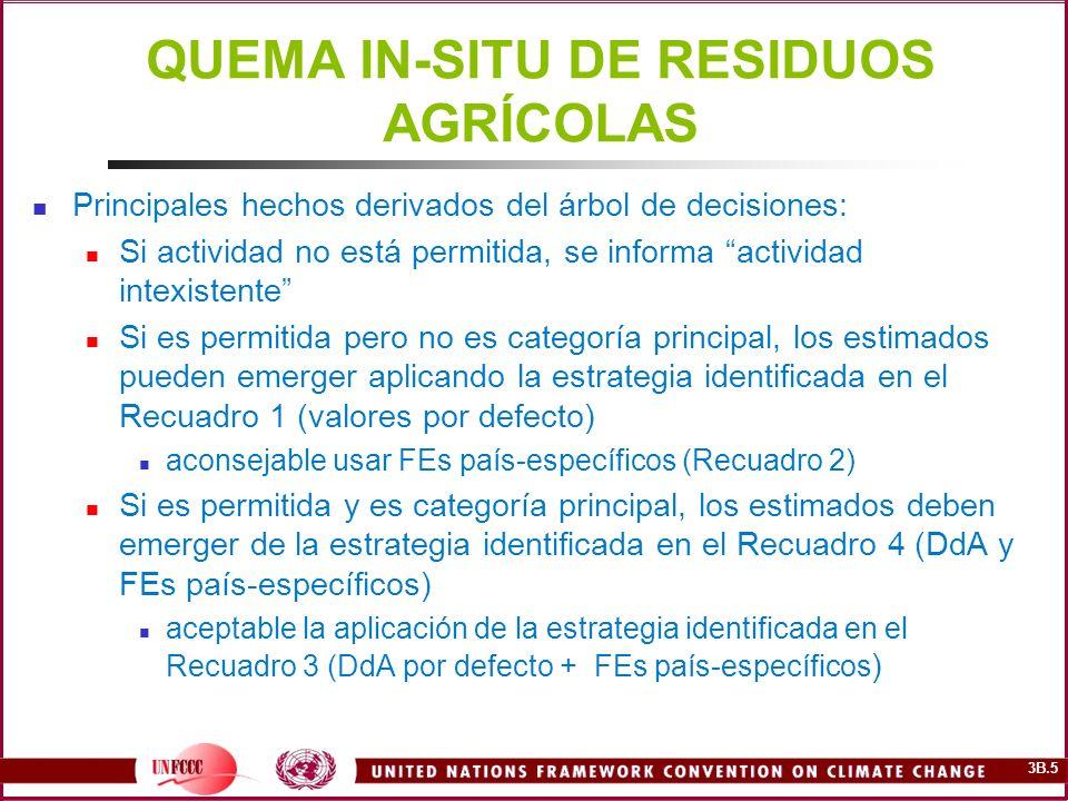 3B.5 QUEMA IN-SITU DE RESIDUOS AGRÍCOLAS Principales hechos derivados del árbol de decisiones: Si actividad no está permitida, se informa actividad in