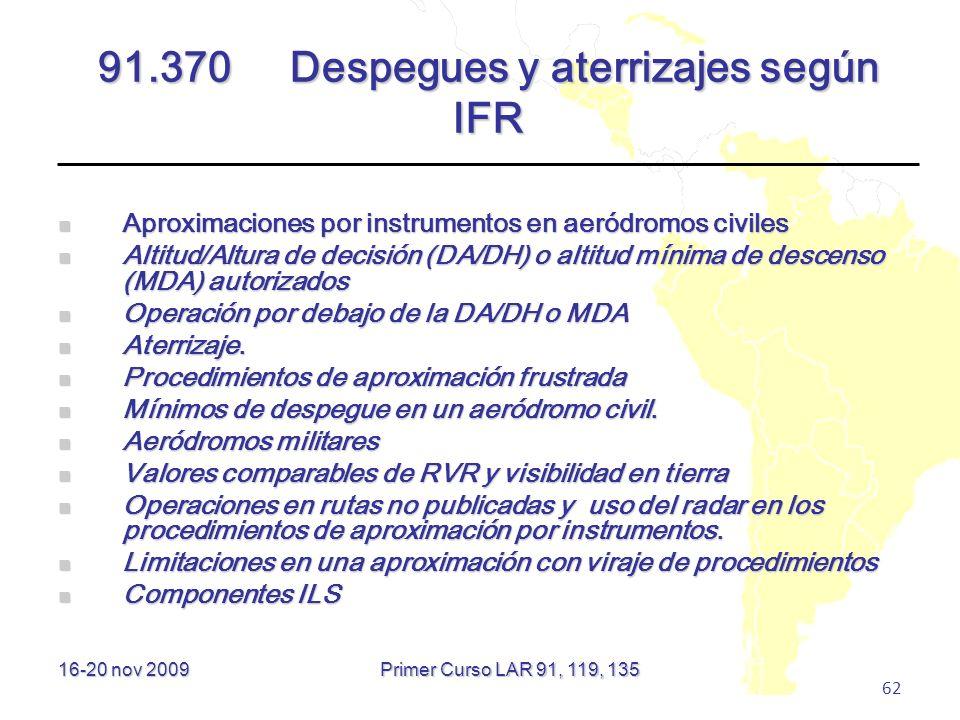 16-20 nov 2009 62 91.370Despegues y aterrizajes según IFR Aproximaciones por instrumentos en aeródromos civiles Aproximaciones por instrumentos en aer
