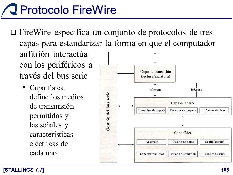 105 Protocolo FireWire [STALLINGS 7.7] FireWire especifica un conjunto de protocolos de tres capas para estandarizar la forma en que el computador anf