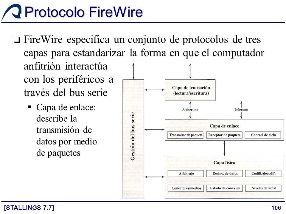 106 Protocolo FireWire [STALLINGS 7.7] FireWire especifica un conjunto de protocolos de tres capas para estandarizar la forma en que el computador anf