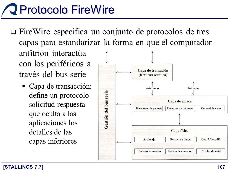107 Protocolo FireWire [STALLINGS 7.7] FireWire especifica un conjunto de protocolos de tres capas para estandarizar la forma en que el computador anf