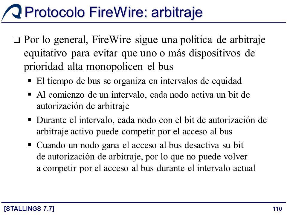 110 Protocolo FireWire: arbitraje [STALLINGS 7.7] Por lo general, FireWire sigue una política de arbitraje equitativo para evitar que uno o más dispos