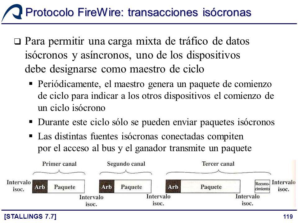 119 Protocolo FireWire: transacciones isócronas [STALLINGS 7.7] Para permitir una carga mixta de tráfico de datos isócronos y asíncronos, uno de los d