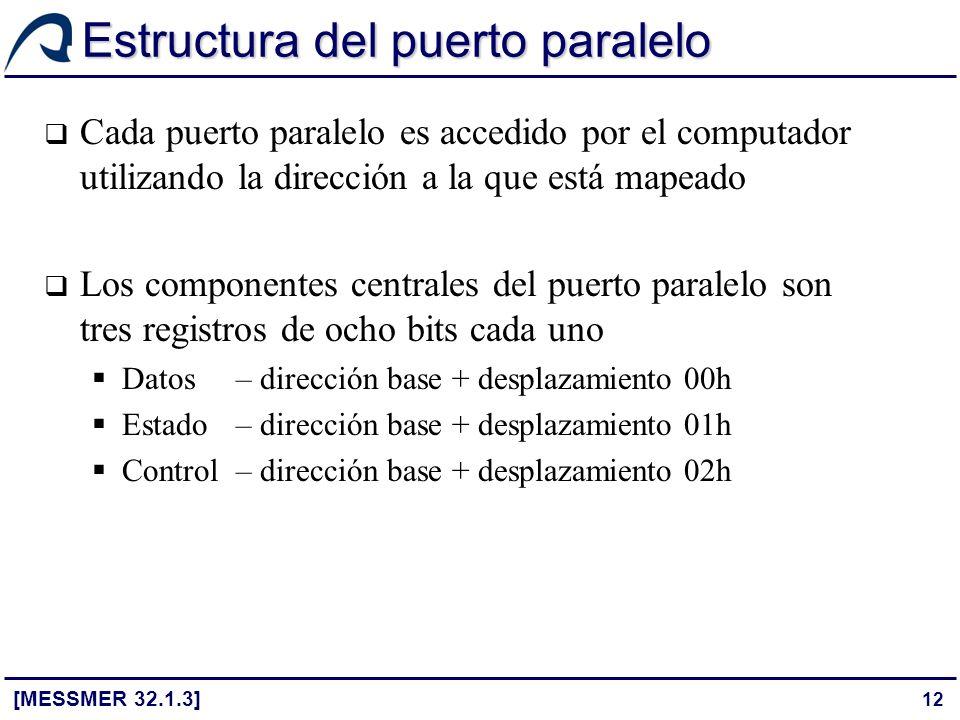 12 Estructura del puerto paralelo [MESSMER 32.1.3] Cada puerto paralelo es accedido por el computador utilizando la dirección a la que está mapeado Lo