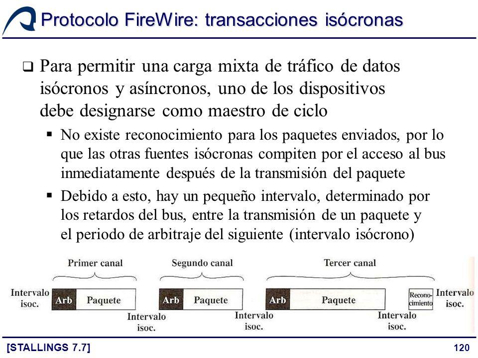 120 Protocolo FireWire: transacciones isócronas [STALLINGS 7.7] Para permitir una carga mixta de tráfico de datos isócronos y asíncronos, uno de los d
