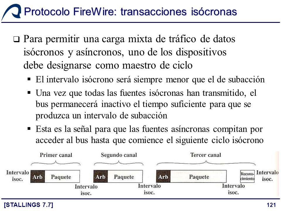121 Protocolo FireWire: transacciones isócronas [STALLINGS 7.7] Para permitir una carga mixta de tráfico de datos isócronos y asíncronos, uno de los d
