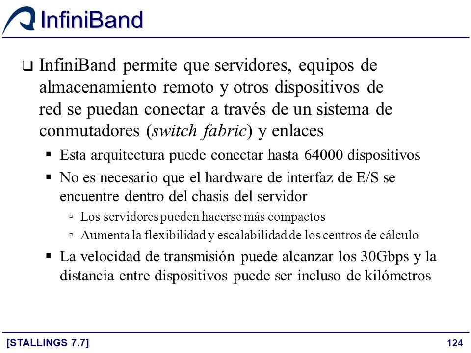 124 InfiniBand [STALLINGS 7.7] InfiniBand permite que servidores, equipos de almacenamiento remoto y otros dispositivos de red se puedan conectar a tr