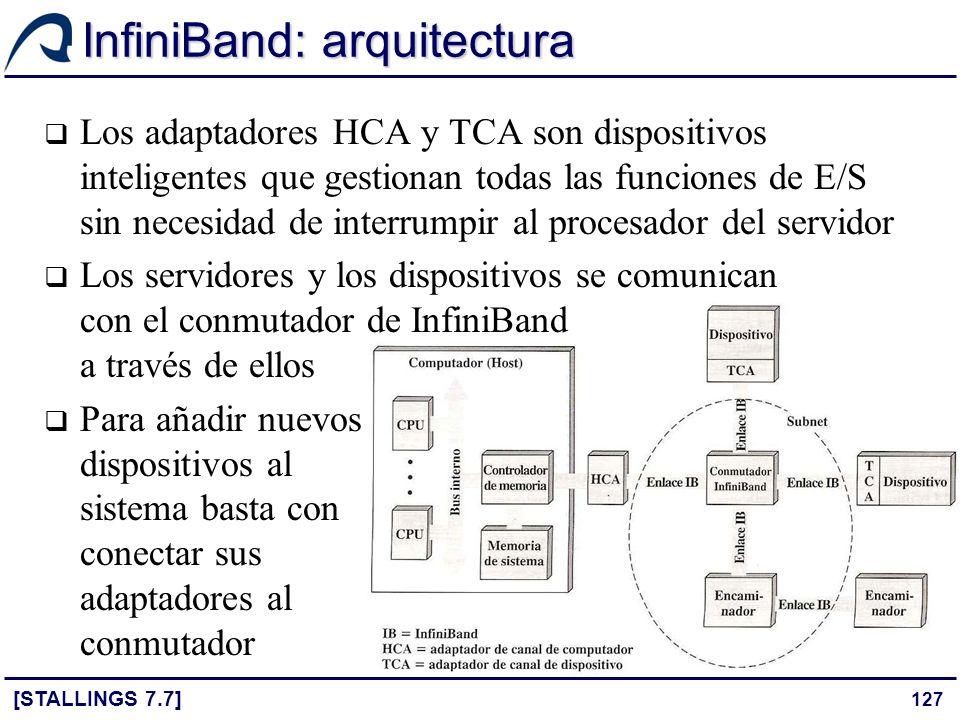 127 InfiniBand: arquitectura [STALLINGS 7.7] Los adaptadores HCA y TCA son dispositivos inteligentes que gestionan todas las funciones de E/S sin nece