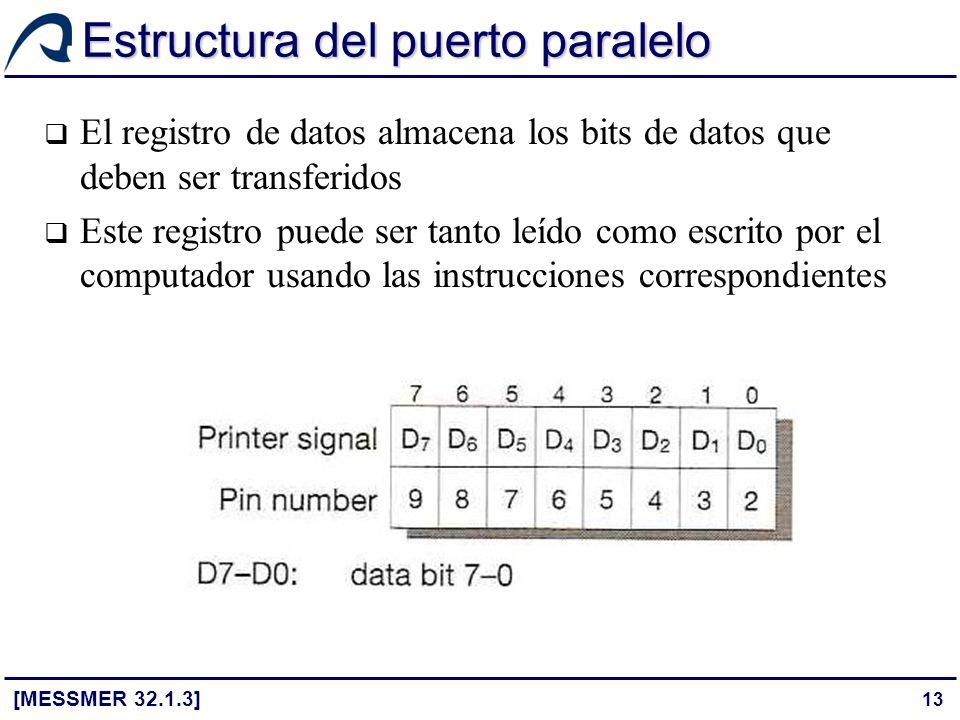 13 Estructura del puerto paralelo [MESSMER 32.1.3] El registro de datos almacena los bits de datos que deben ser transferidos Este registro puede ser