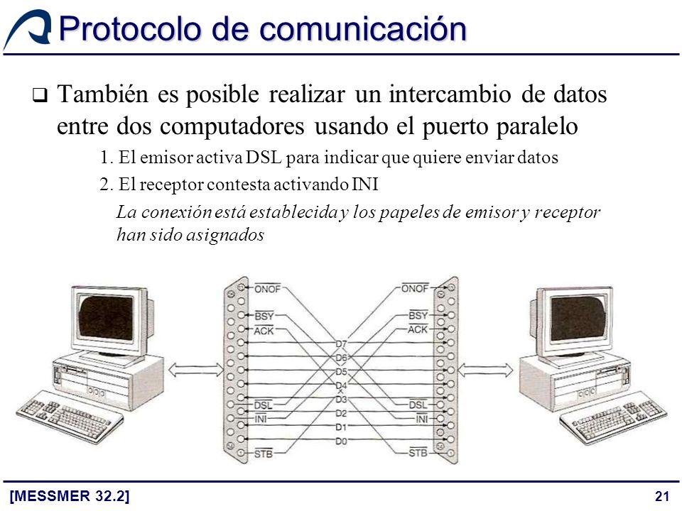 21 Protocolo de comunicación [MESSMER 32.2] También es posible realizar un intercambio de datos entre dos computadores usando el puerto paralelo 1. El