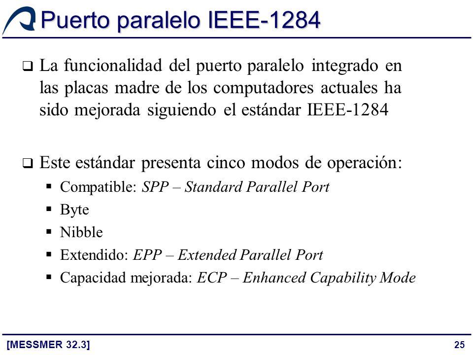25 Puerto paralelo IEEE-1284 [MESSMER 32.3] La funcionalidad del puerto paralelo integrado en las placas madre de los computadores actuales ha sido me
