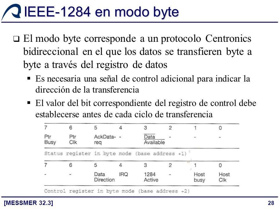 28 IEEE-1284 en modo byte [MESSMER 32.3] El modo byte corresponde a un protocolo Centronics bidireccional en el que los datos se transfieren byte a by