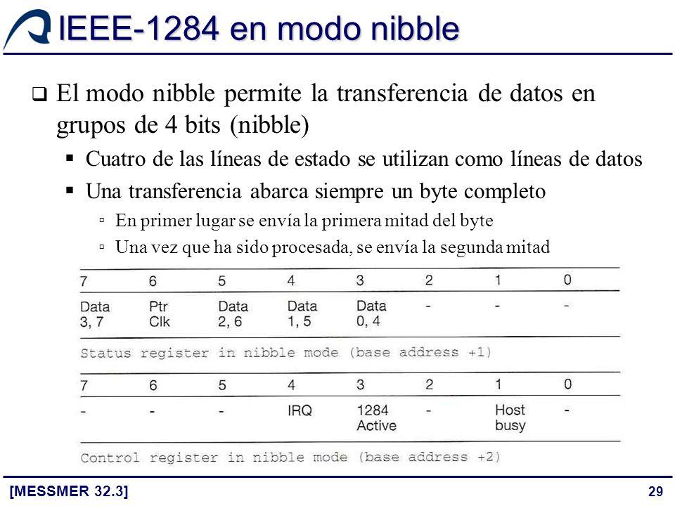29 IEEE-1284 en modo nibble [MESSMER 32.3] El modo nibble permite la transferencia de datos en grupos de 4 bits (nibble) Cuatro de las líneas de estad