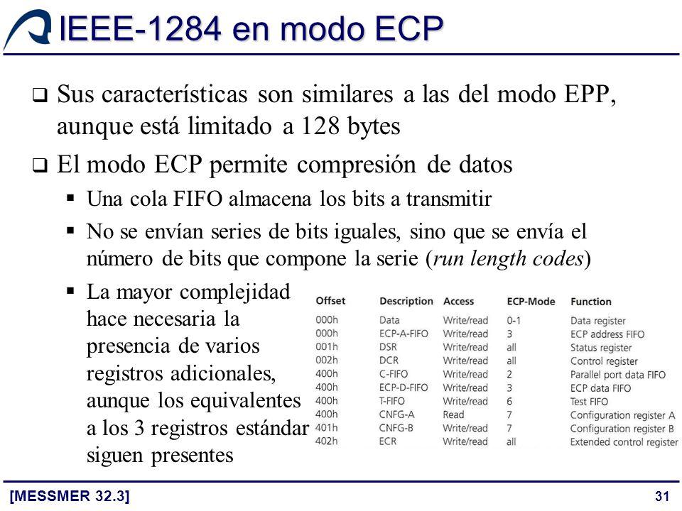 31 IEEE-1284 en modo ECP [MESSMER 32.3] Sus características son similares a las del modo EPP, aunque está limitado a 128 bytes El modo ECP permite com