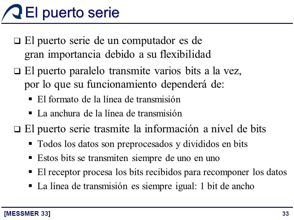 33 El puerto serie [MESSMER 33] El puerto serie de un computador es de gran importancia debido a su flexibilidad El puerto paralelo transmite varios b