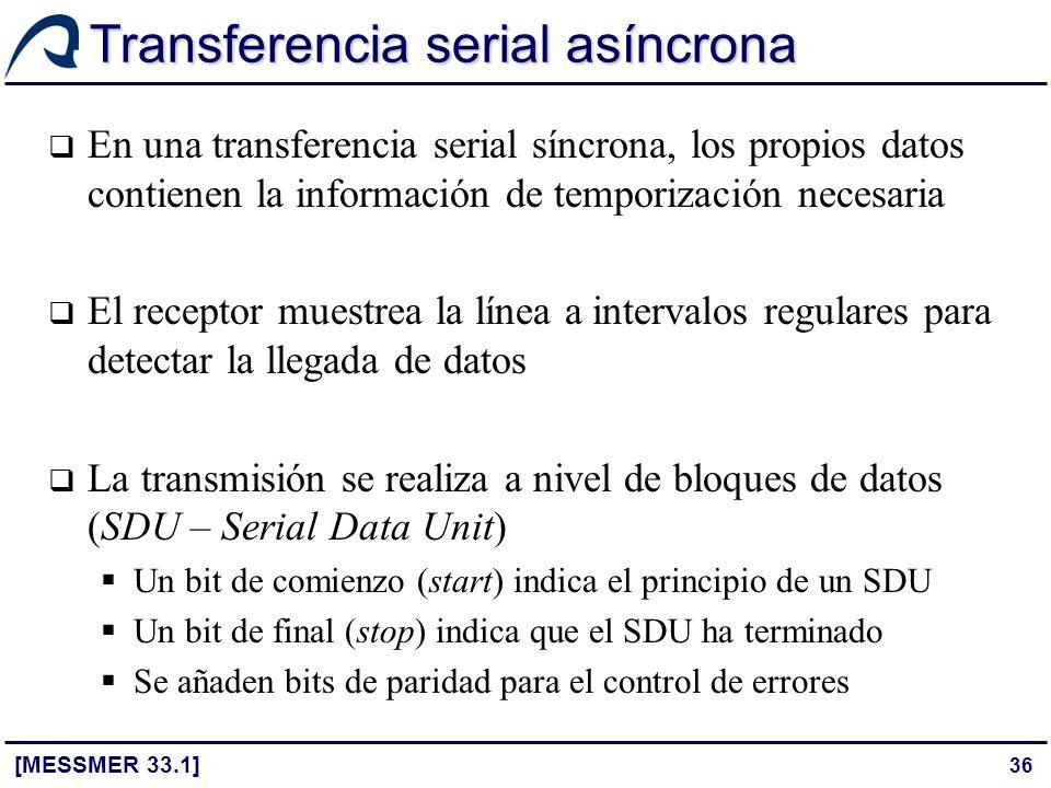 36 Transferencia serial asíncrona [MESSMER 33.1] En una transferencia serial síncrona, los propios datos contienen la información de temporización nec