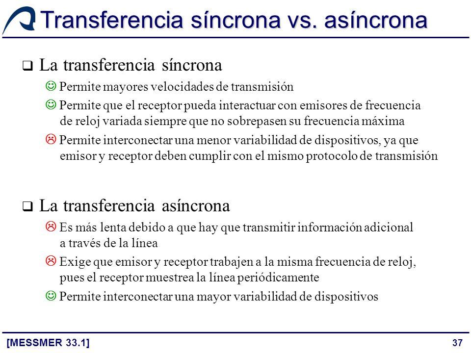 37 Transferencia síncrona vs. asíncrona [MESSMER 33.1] La transferencia síncrona Permite mayores velocidades de transmisión Permite que el receptor pu