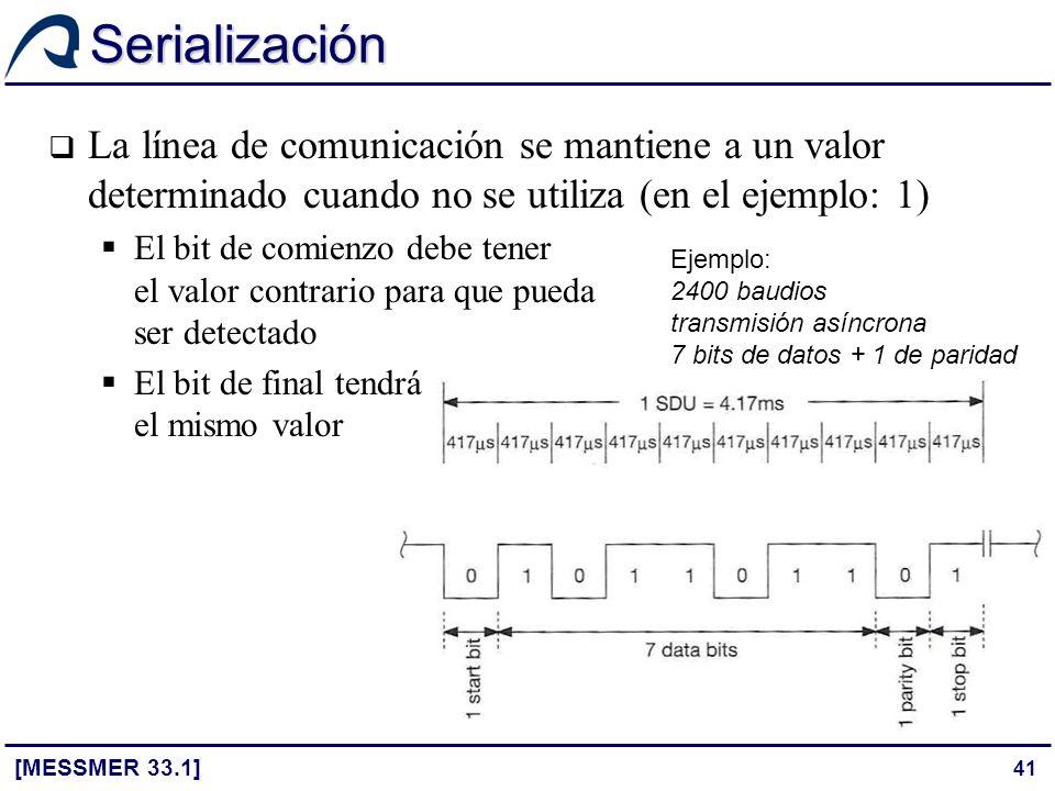 41 Serialización [MESSMER 33.1] La línea de comunicación se mantiene a un valor determinado cuando no se utiliza (en el ejemplo: 1) El bit de comienzo