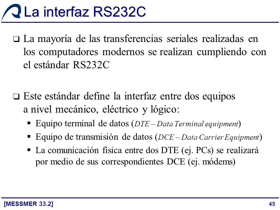 45 La interfaz RS232C [MESSMER 33.2] La mayoría de las transferencias seriales realizadas en los computadores modernos se realizan cumpliendo con el e