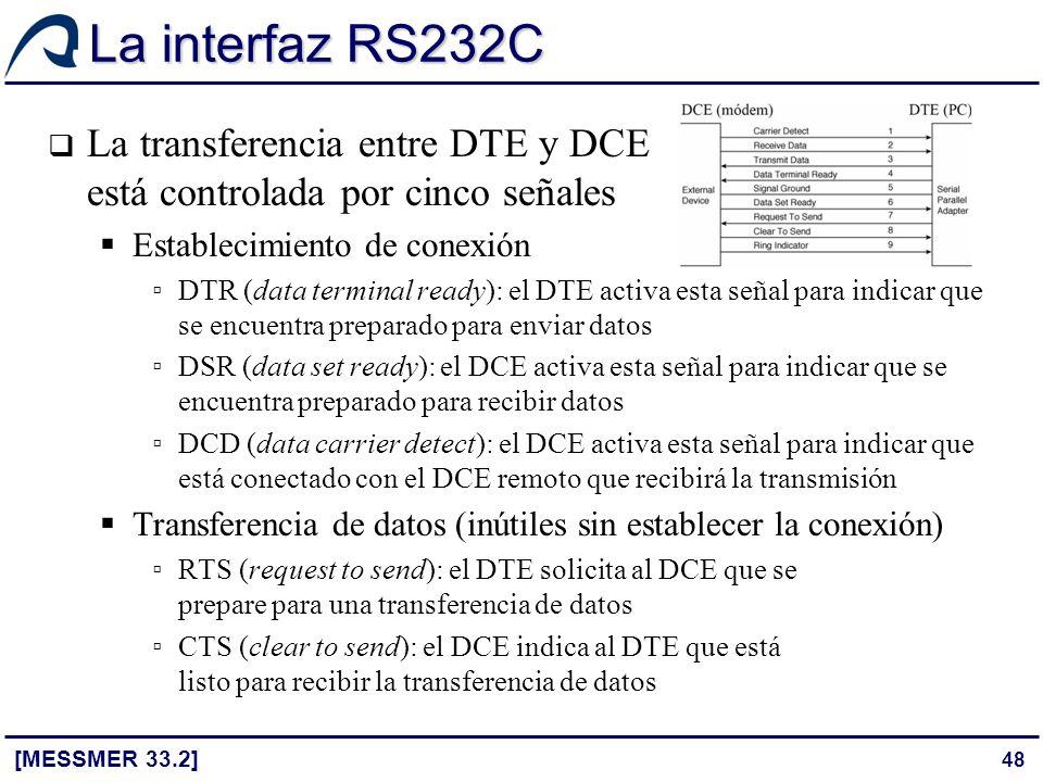 48 La interfaz RS232C [MESSMER 33.2] La transferencia entre DTE y DCE está controlada por cinco señales Establecimiento de conexión DTR (data terminal