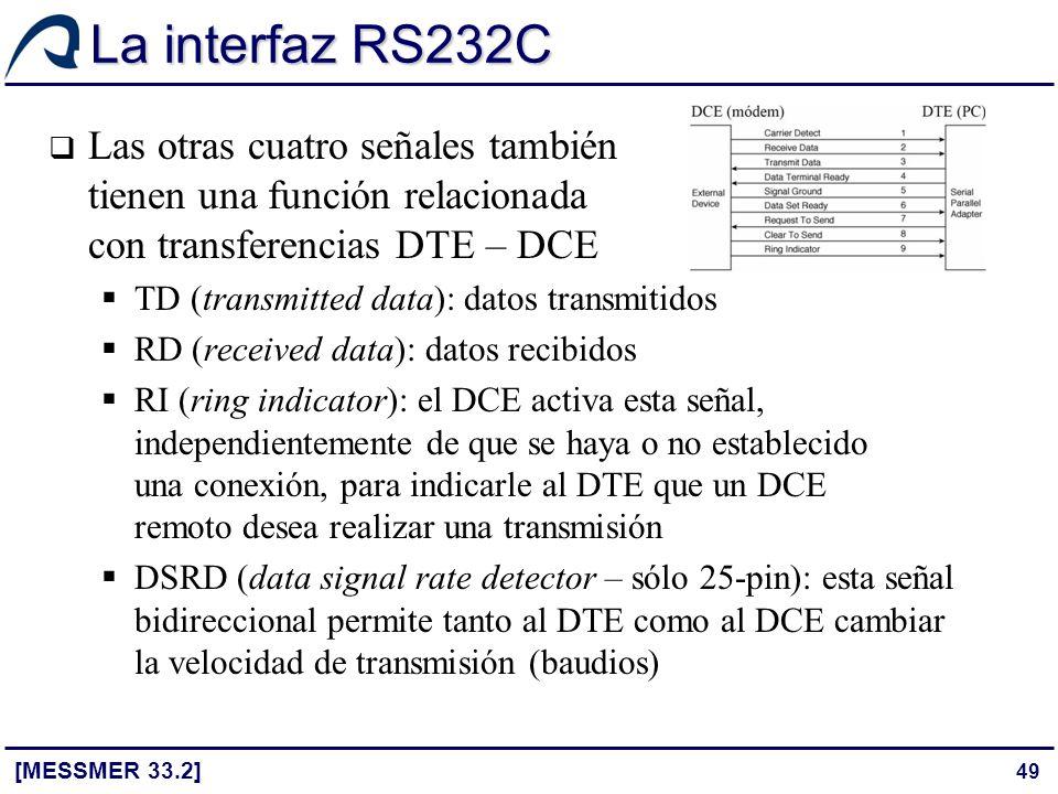 49 La interfaz RS232C [MESSMER 33.2] Las otras cuatro señales también tienen una función relacionada con transferencias DTE – DCE TD (transmitted data