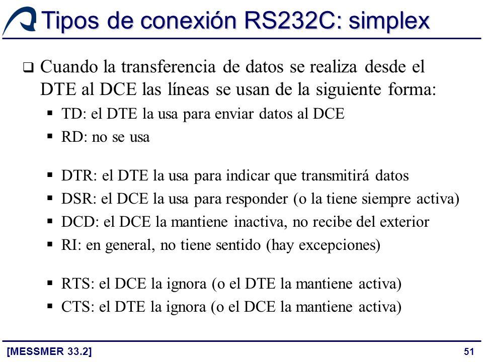 51 Tipos de conexión RS232C: simplex [MESSMER 33.2] Cuando la transferencia de datos se realiza desde el DTE al DCE las líneas se usan de la siguiente