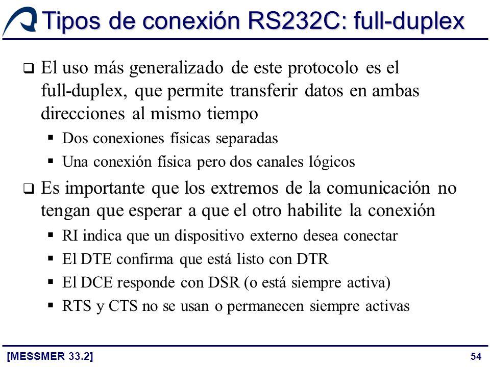 54 Tipos de conexión RS232C: full-duplex [MESSMER 33.2] El uso más generalizado de este protocolo es el full-duplex, que permite transferir datos en a