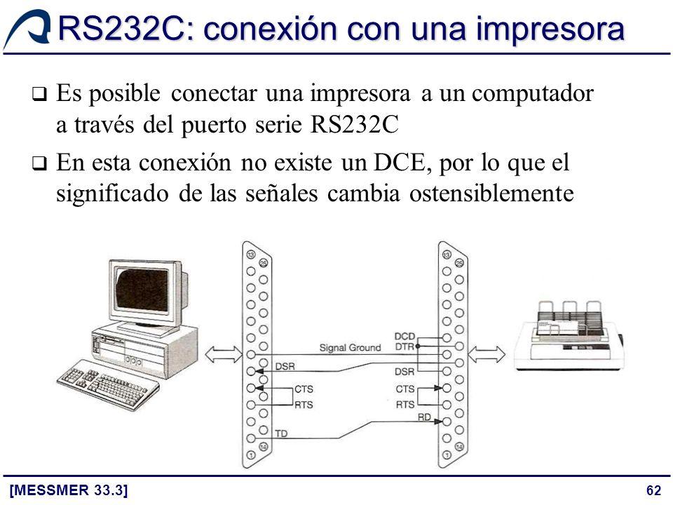 62 RS232C: conexión con una impresora [MESSMER 33.3] Es posible conectar una impresora a un computador a través del puerto serie RS232C En esta conexi