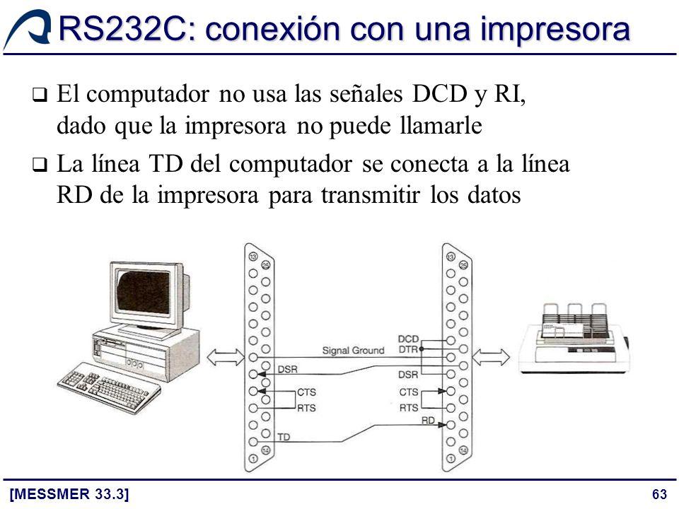 63 RS232C: conexión con una impresora [MESSMER 33.3] El computador no usa las señales DCD y RI, dado que la impresora no puede llamarle La línea TD de
