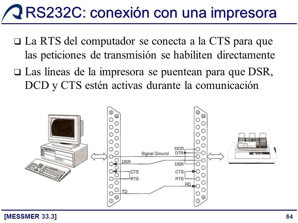 64 RS232C: conexión con una impresora [MESSMER 33.3] La RTS del computador se conecta a la CTS para que las peticiones de transmisión se habiliten dir