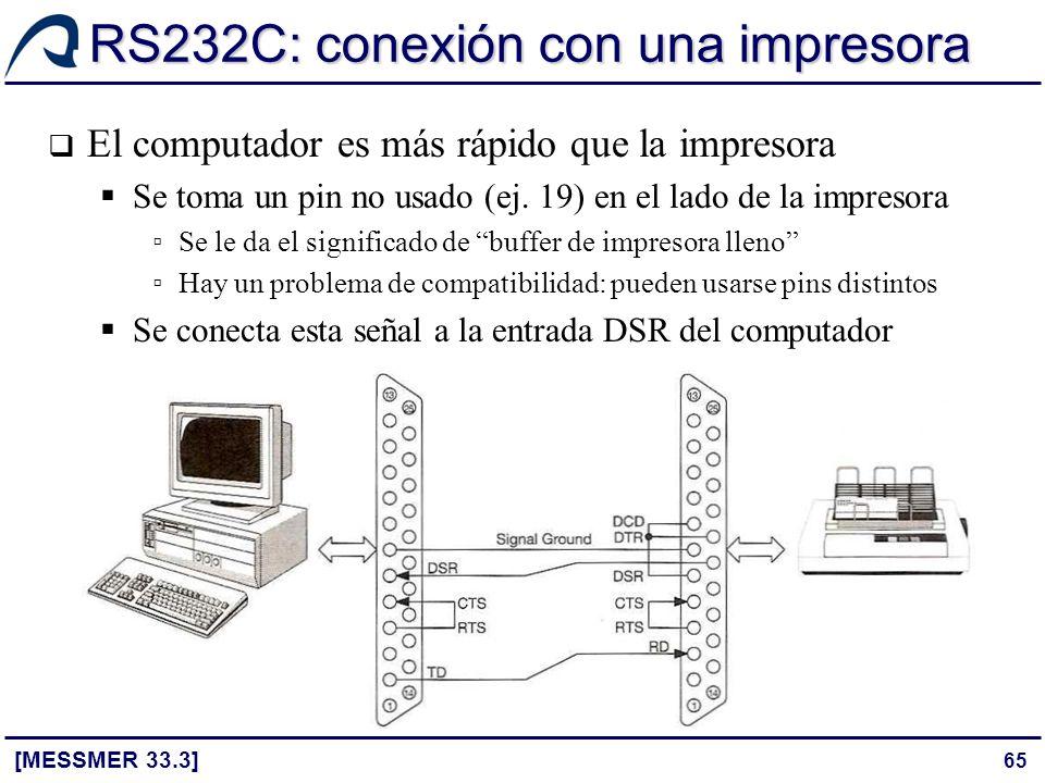 65 RS232C: conexión con una impresora [MESSMER 33.3] El computador es más rápido que la impresora Se toma un pin no usado (ej. 19) en el lado de la im