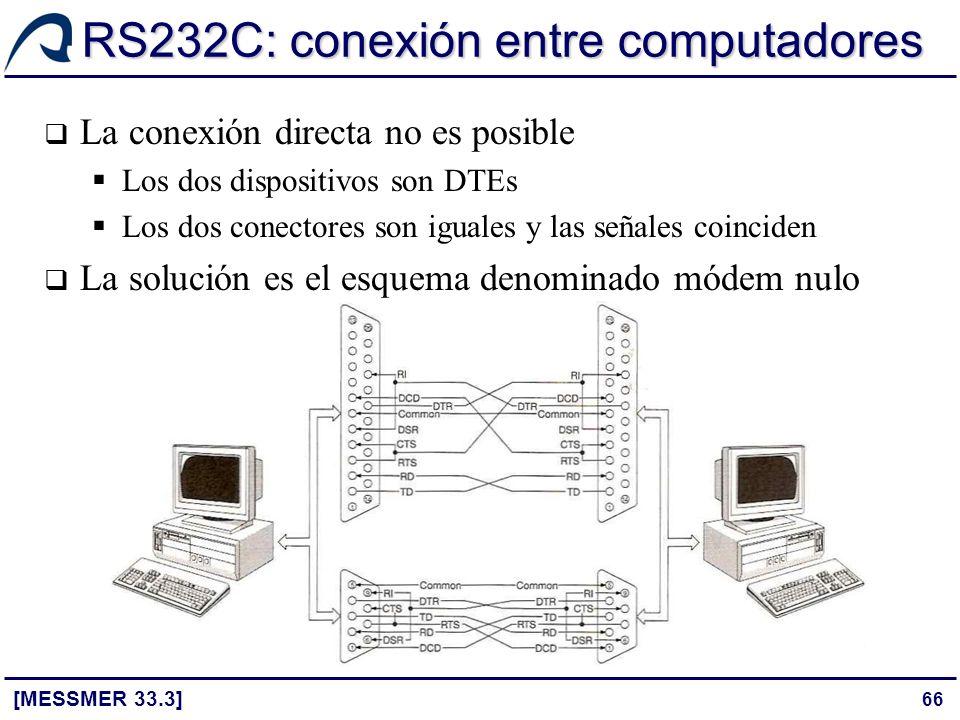 66 RS232C: conexión entre computadores [MESSMER 33.3] La conexión directa no es posible Los dos dispositivos son DTEs Los dos conectores son iguales y