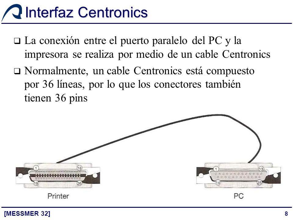 8 Interfaz Centronics [MESSMER 32] La conexión entre el puerto paralelo del PC y la impresora se realiza por medio de un cable Centronics Normalmente,