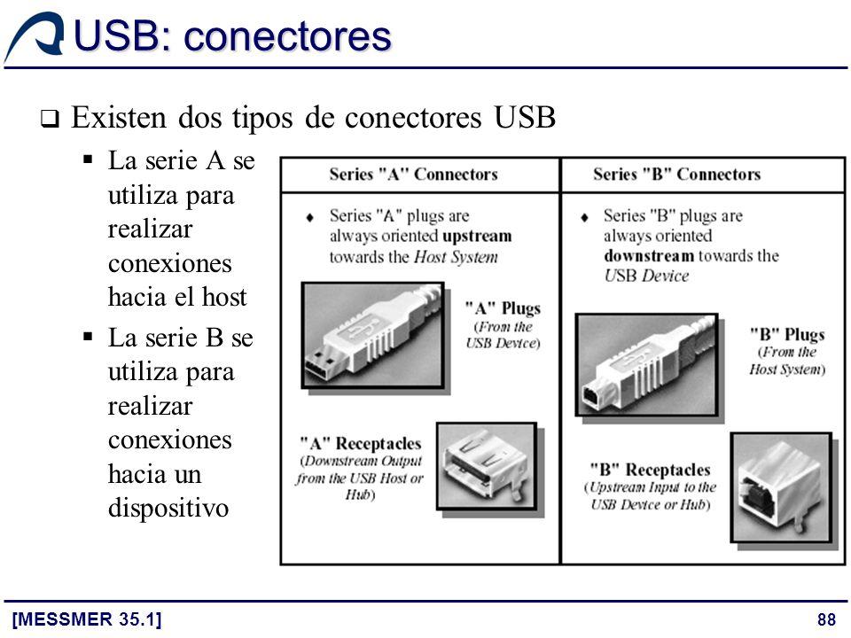 88 USB: conectores Existen dos tipos de conectores USB La serie A se utiliza para realizar conexiones hacia el host La serie B se utiliza para realiza