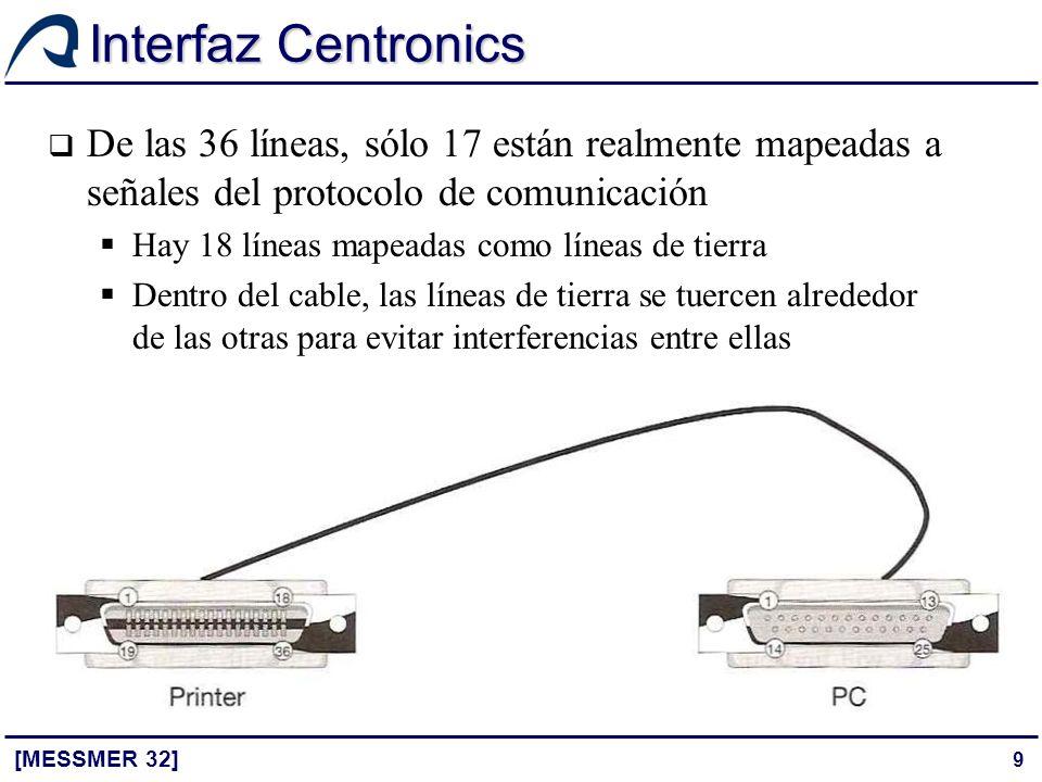 9 Interfaz Centronics [MESSMER 32] De las 36 líneas, sólo 17 están realmente mapeadas a señales del protocolo de comunicación Hay 18 líneas mapeadas c
