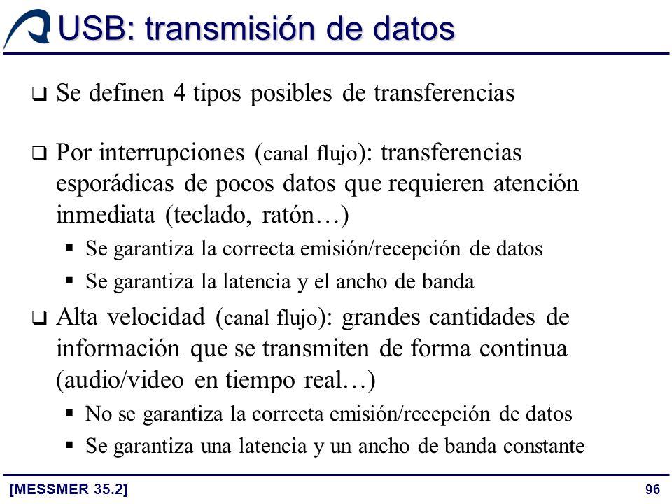 96 USB: transmisión de datos Se definen 4 tipos posibles de transferencias Por interrupciones ( canal flujo ): transferencias esporádicas de pocos dat
