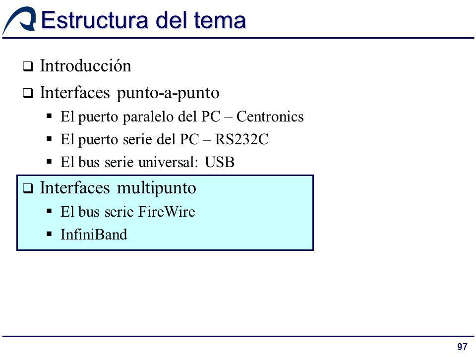 97 Estructura del tema Introducción Interfaces punto-a-punto El puerto paralelo del PC – Centronics El puerto serie del PC – RS232C El bus serie unive