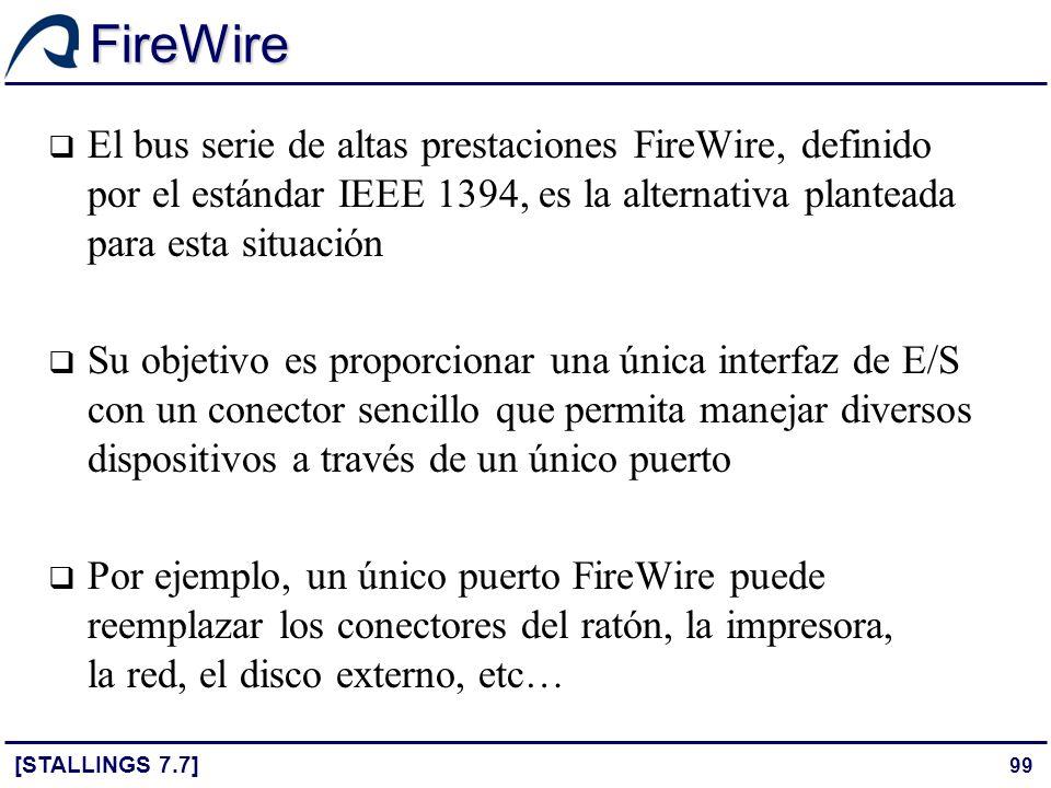 99 FireWire [STALLINGS 7.7] El bus serie de altas prestaciones FireWire, definido por el estándar IEEE 1394, es la alternativa planteada para esta sit