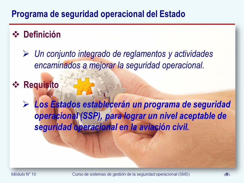 Módulo N° 10Curso de sistemas de gestión de la seguridad operacional (SMS) 14 Programa de seguridad operacional del Estado Definición Un conjunto inte