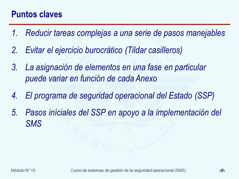 Módulo N° 10Curso de sistemas de gestión de la seguridad operacional (SMS) 22 Puntos claves 1.Reducir tareas complejas a una serie de pasos manejables