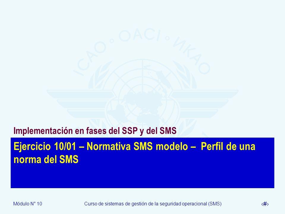 Módulo N° 10Curso de sistemas de gestión de la seguridad operacional (SMS) 23 Ejercicio 10/01 – Normativa SMS modelo – Perfil de una norma del SMS Imp
