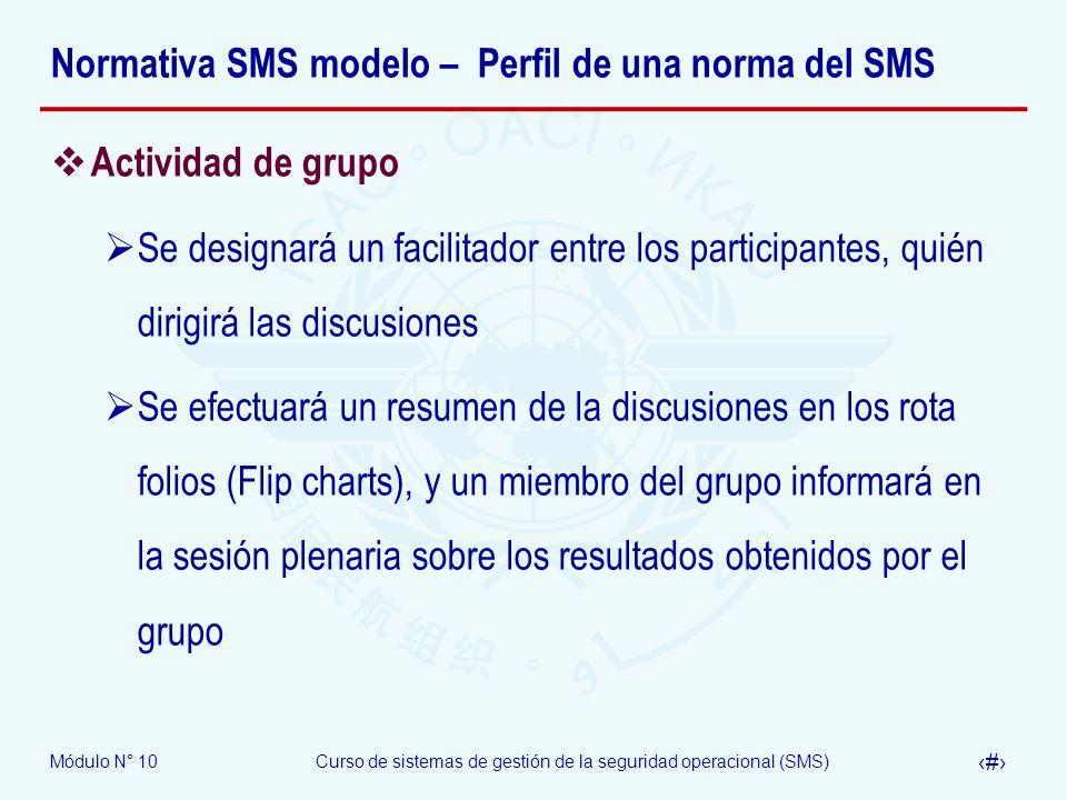 Módulo N° 10Curso de sistemas de gestión de la seguridad operacional (SMS) 24 Normativa SMS modelo – Perfil de una norma del SMS Actividad de grupo Se