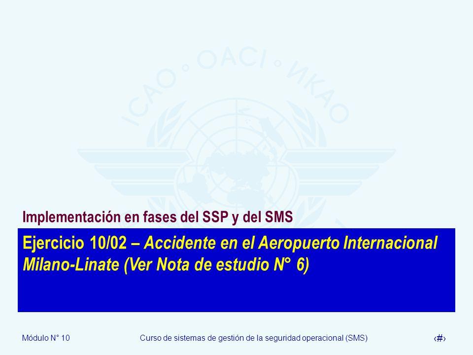 Módulo N° 10Curso de sistemas de gestión de la seguridad operacional (SMS) 26 Ejercicio 10/02 – Accidente en el Aeropuerto Internacional Milano-Linate